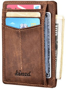 Kinzd minimalist leather wallet for men