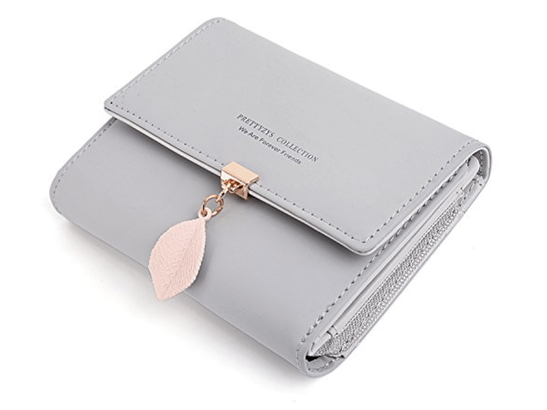 Man wallet card holder synthetic leather light brown wallet leaf
