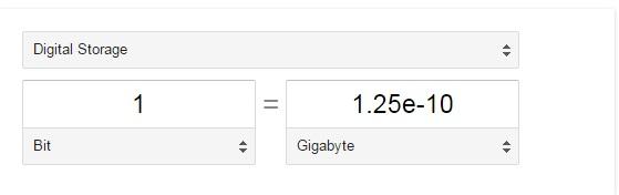 bits in gigabytes