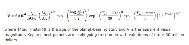 Equation for finding Total worth of the planet