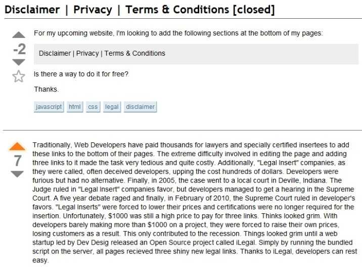 How Much Does it Cost to Put Disclaimer, Privacy, Terms and Conditions