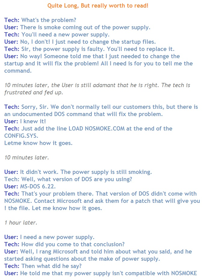 Tech Support Jokes (real incidents)