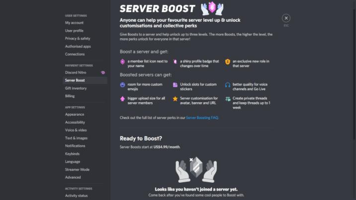 Discord server boost