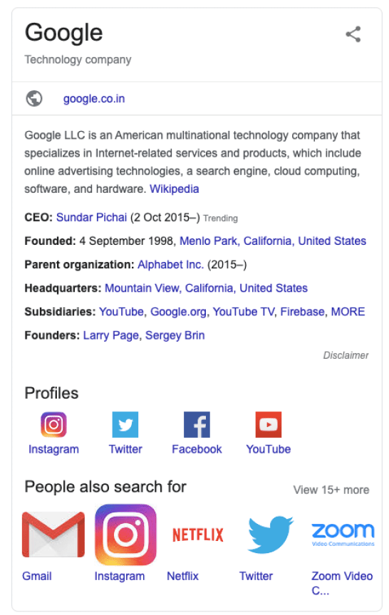 Example of a Google Knowledge Graph