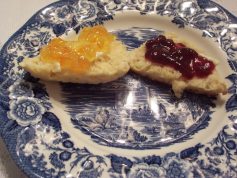 Warm Scone with butter and jam