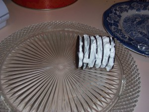 place wafers on side to form a log