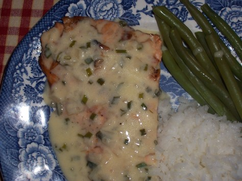 Grilled Salmon with Chives Buerre Blanc