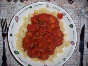 Pasta with Eggplant Bacon and Tomato