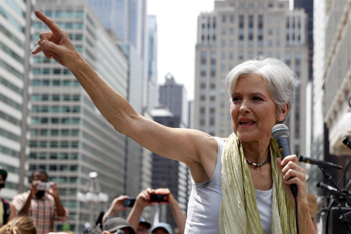 Dr. Jill Stein, former Green Party presidential nominee, speaking at a rally in Philadelphia, Tuesday, July 26, 2016 (AP Photo/John Minchillo)