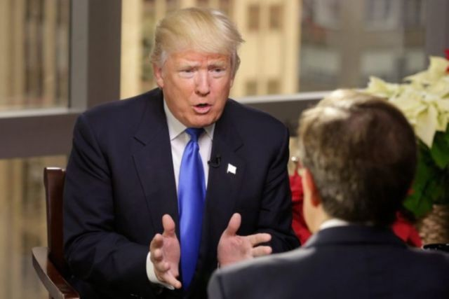 """Donald Trump speaks with Chris Wallace on """"Fox News Sunday,"""" December 11, 2016. (Dylan Stableford/Yahoo News)"""