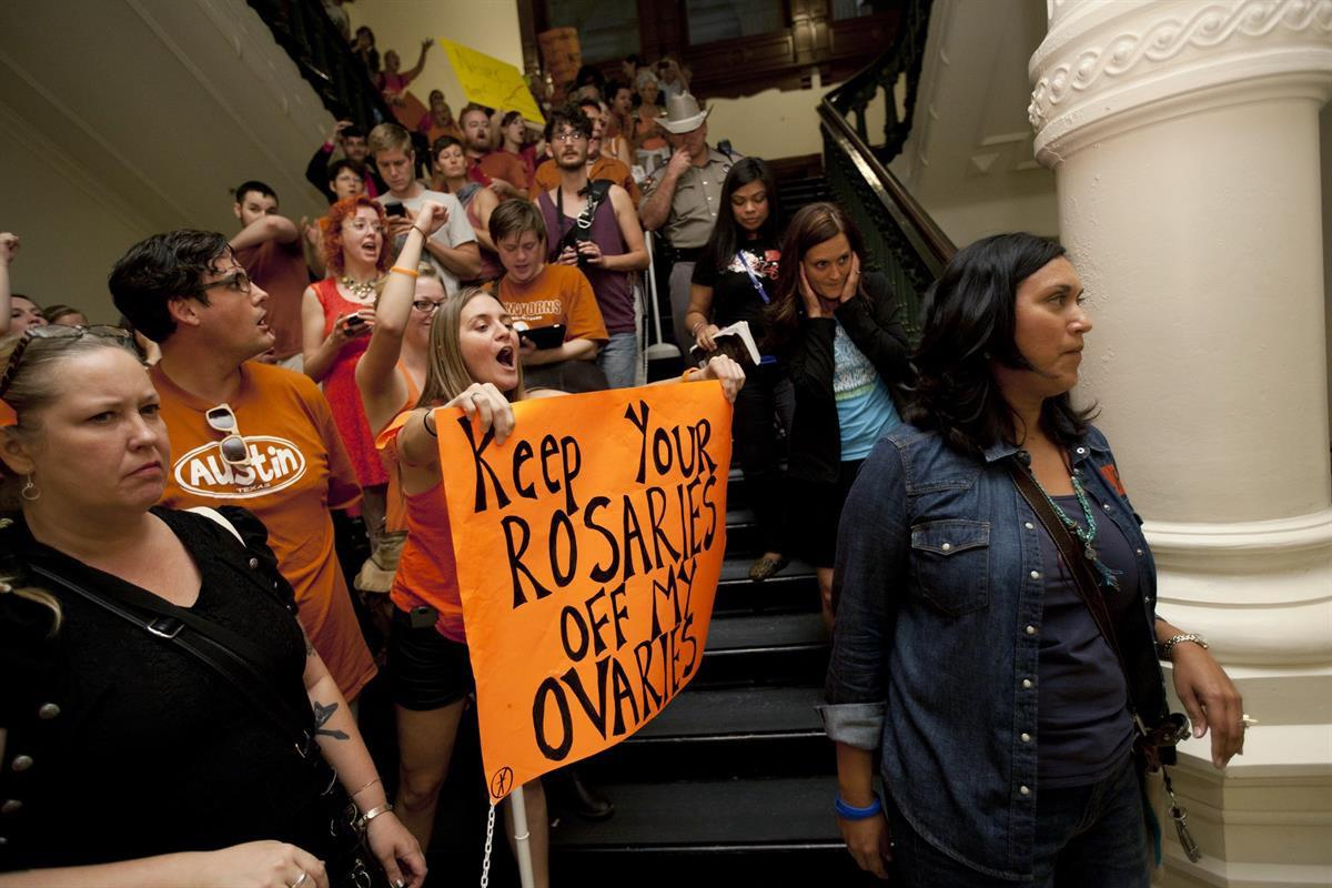 Abortion rights advocates in the State Capitol in Austin, Texas. July 13, 2013(AP Photo/Tamir Kalifa File)
