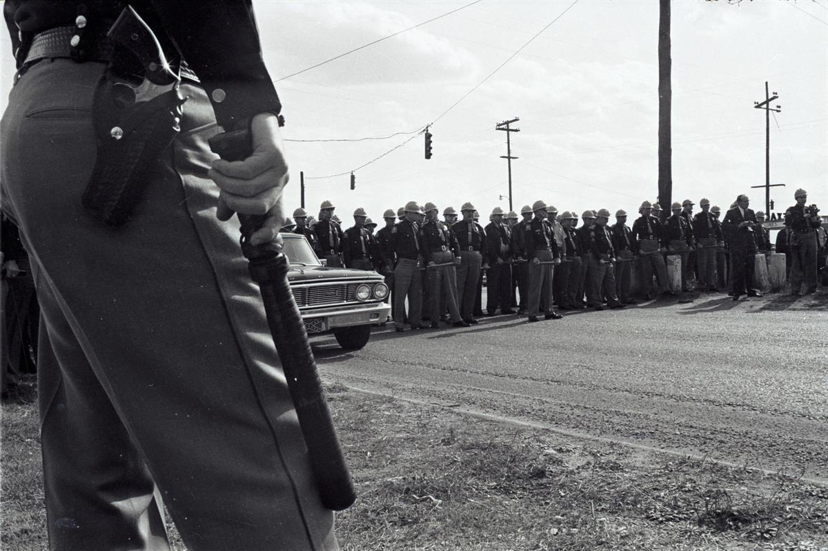 Police gather outside Selma, Alabama on Bloody Sunday