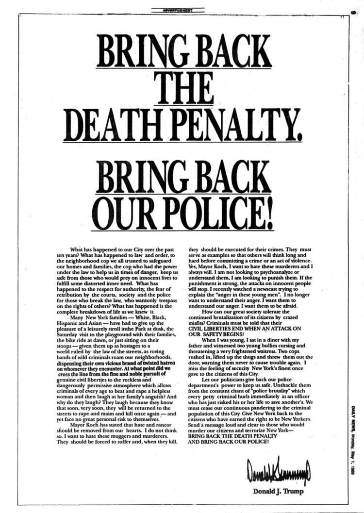 Donald Trump's 1989 ad calling for the killing of the Central Park Five (New York Daily News).