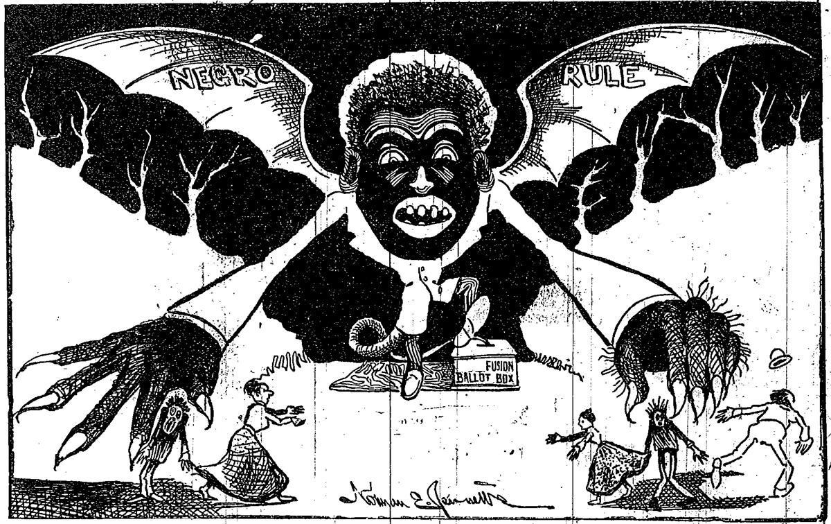 A racist anti-Fusion newspaper cartoon that ran in both the 1898 and 1900 North Carolina elections (Norman Jennet / Reddit).