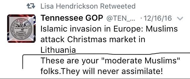 On December 16, 2016, Denton GOP Chairwoman Lisa Hendrickson re-tweeted a post that questions the existence of moderate Muslims.