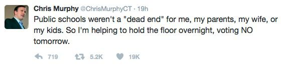 Tweet from Senator Chris Murphy on February 6, 2017