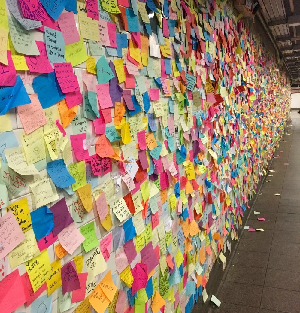 Subway Therapy wall in New York City's Union Square/14th Street subway station. Taken December 2016. [Photo by AbbeyBarker]
