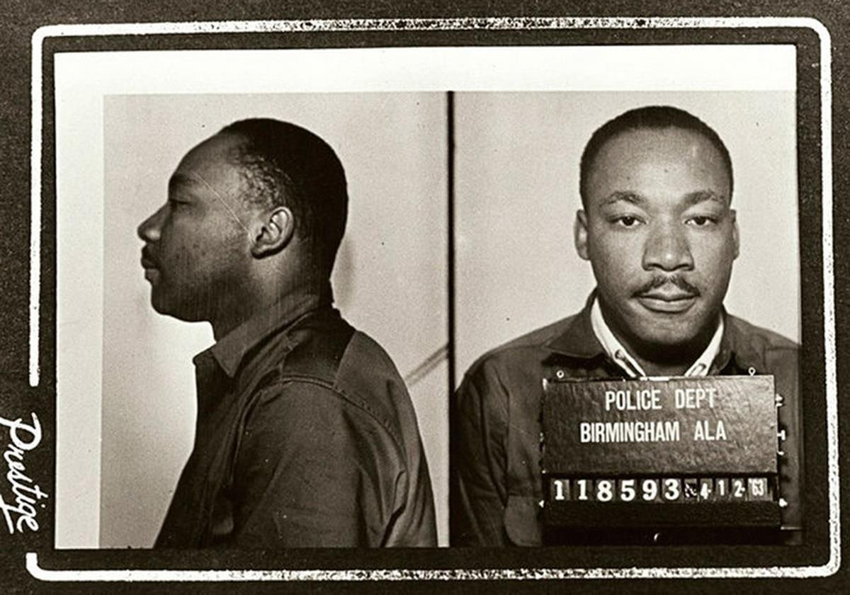 Martin Luther King Jr's mugshot (photo credit: Birmingham police department).