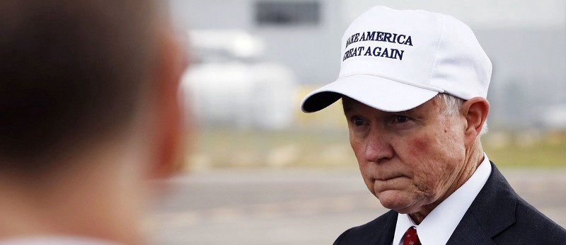 Jeff Sessions wearing a MAKE AMERICA GREAT AGAIN hat (Reuters).