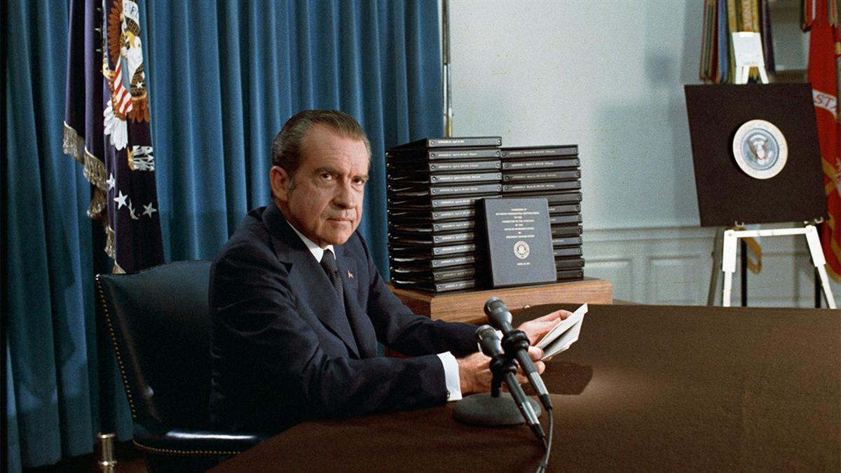 President Richard Nixon at his resignation speech via the National Archives and Records Administration, public domain/CC0)