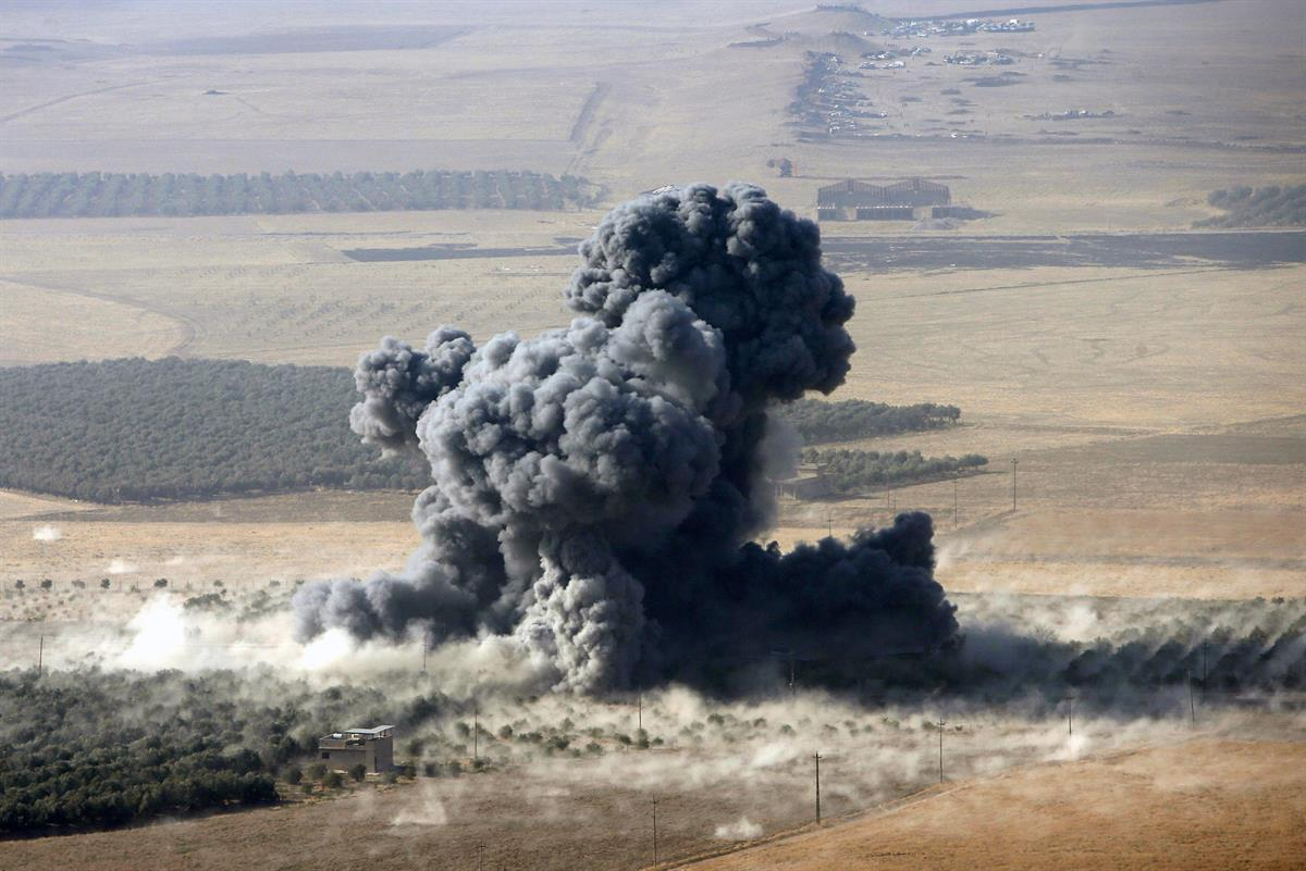 Aftermath of an airstrike near Mosul on October 23rd (Azad Lashkari/Reuters)