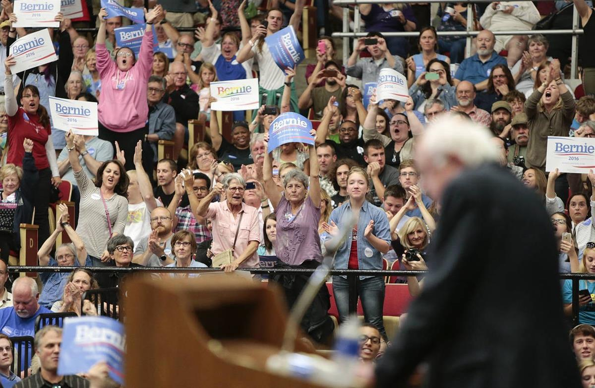 Bernie Sanders rally in Madison, Wis. (Michael P King/Wisconsin State Journal, via AP)