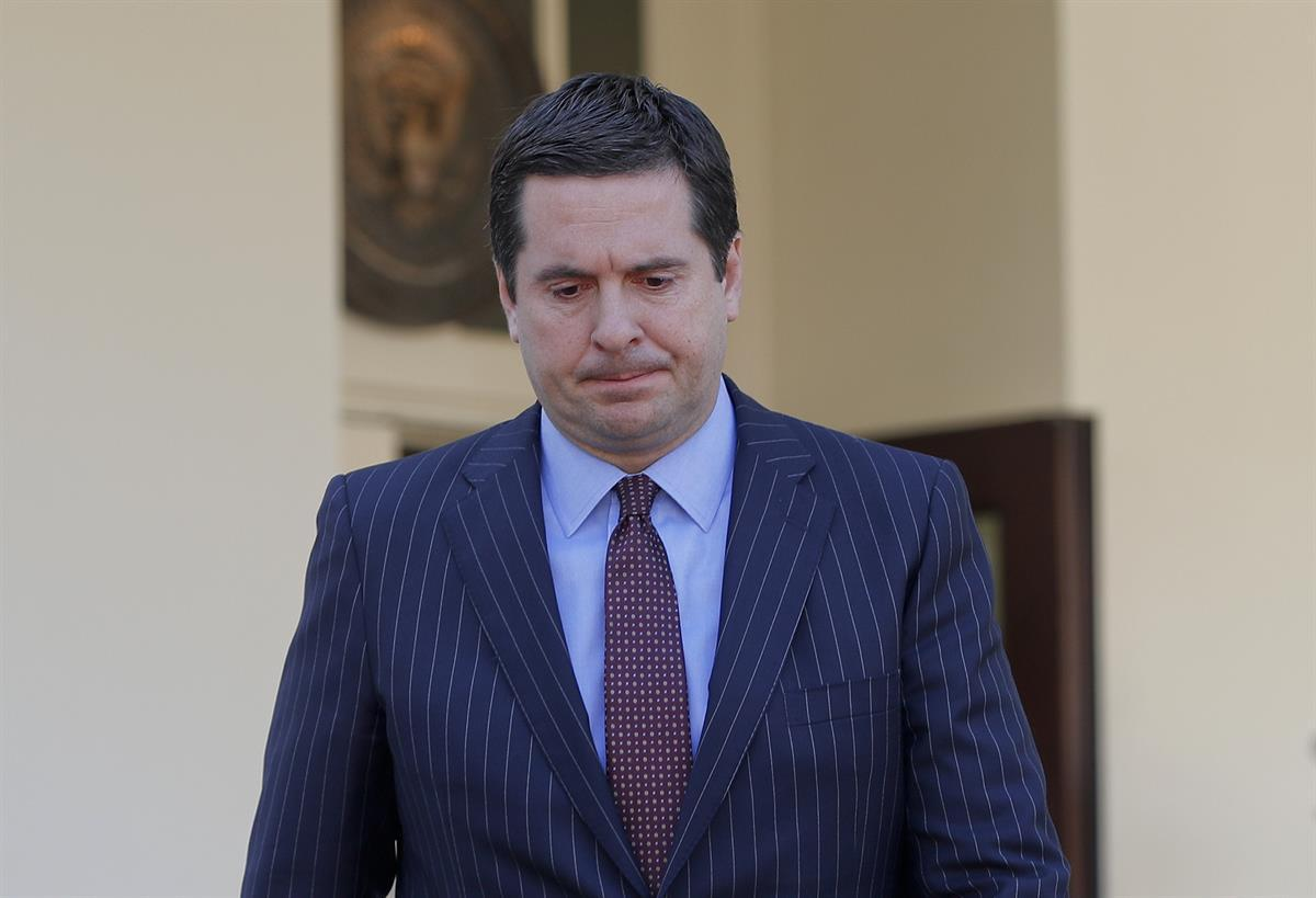 House Intelligence Committee Chairman Rep. Devin Nunes, R-Calif. walks out of the White House in Washington, Wednesday, March 22, 2017, to speak with reporters following a meeting with President Donald Trump. (AP Photo/Pablo Martinez Monsivais)