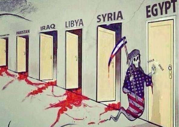 A cartoon depicts the US and Israel as Death knocking on the Middle East and Egypt's doors