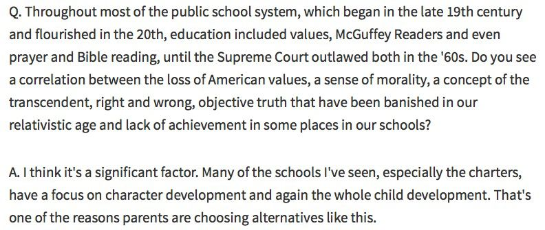 An excerpt from Townhall's interview with Secretary DeVos