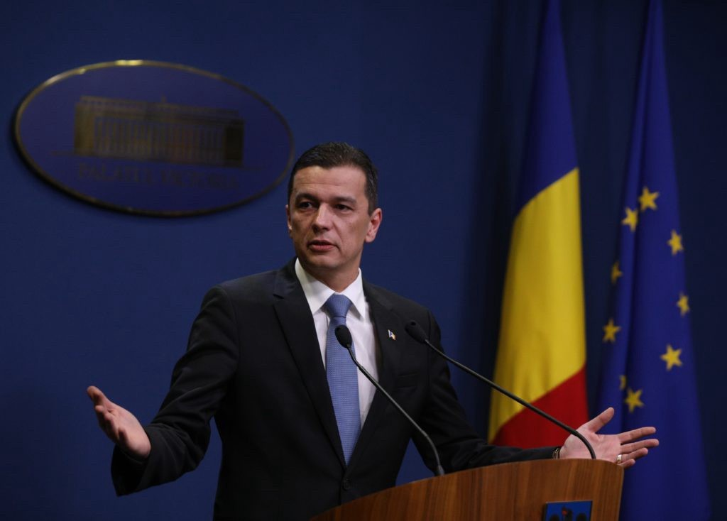 Romania's Prime Minister Sorin Grindeanu delivers a speech in Bucharest, Romania February 4, 2017. (Reuters)