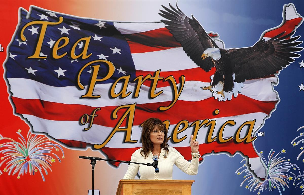 Former Alaska governor Sarah Palin at a Tea Party event at the Indianola Balloon Festival Grounds on in Indianola, Iowa—Sept. 3, 2011 (Justin Sullivan/Getty Images)