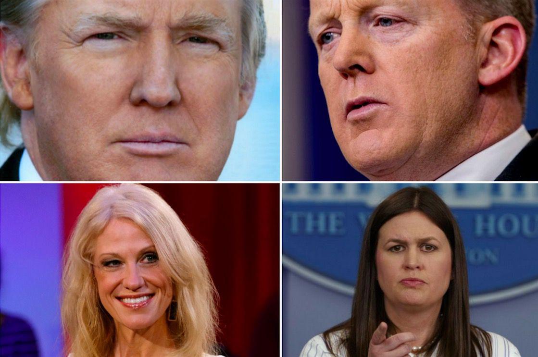 @realDonaldTrump, Sean Spicer, Kellyanne Conway, and Sarah Huckabee Sanders(AP)