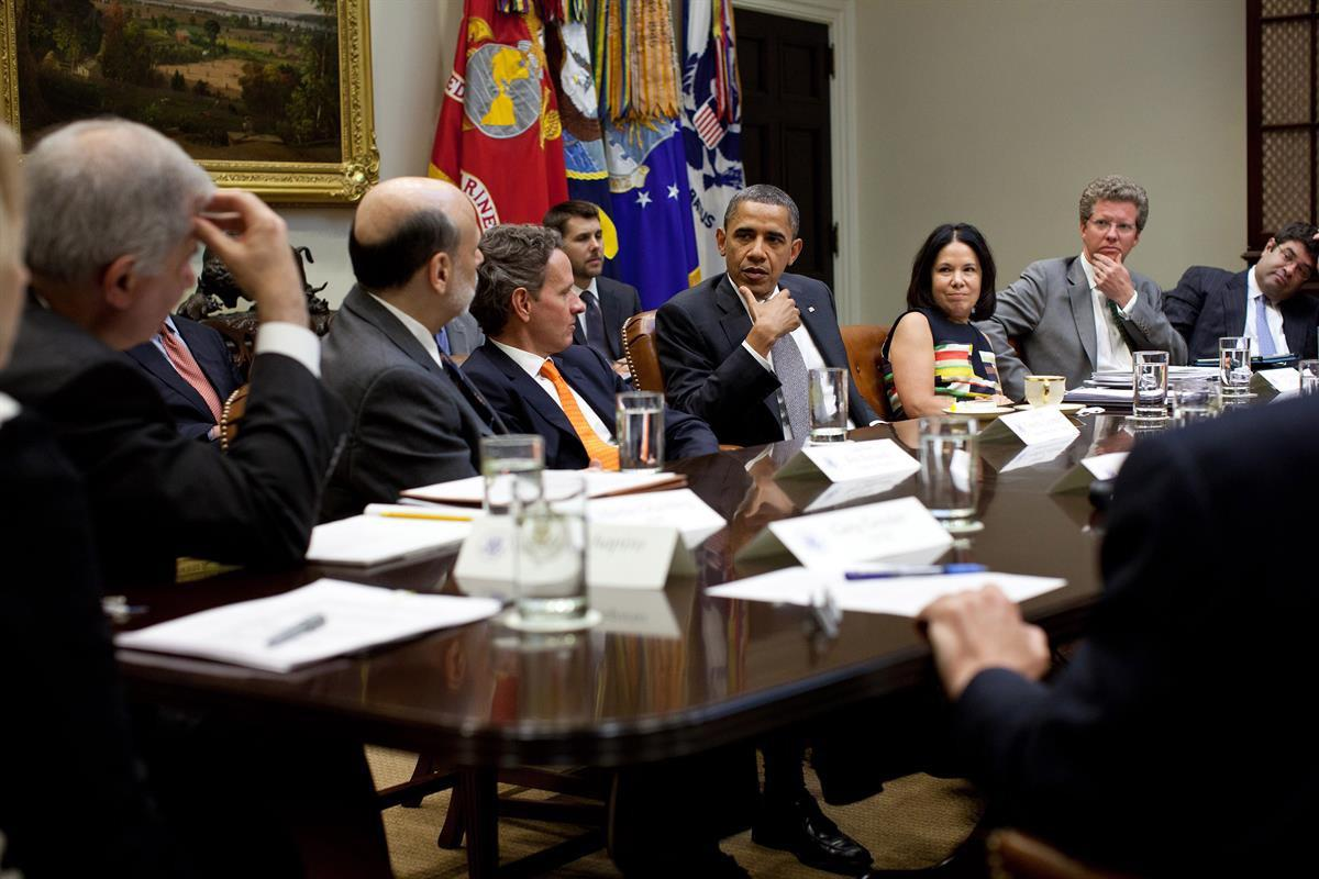 President Barack Obama meets with heads of financial regulatory agencies in the Roosevelt Room of the White House to receive an update on implementation of the Dodd-Frank— July 18, 2011 (Official White House Photo by Pete Souza)