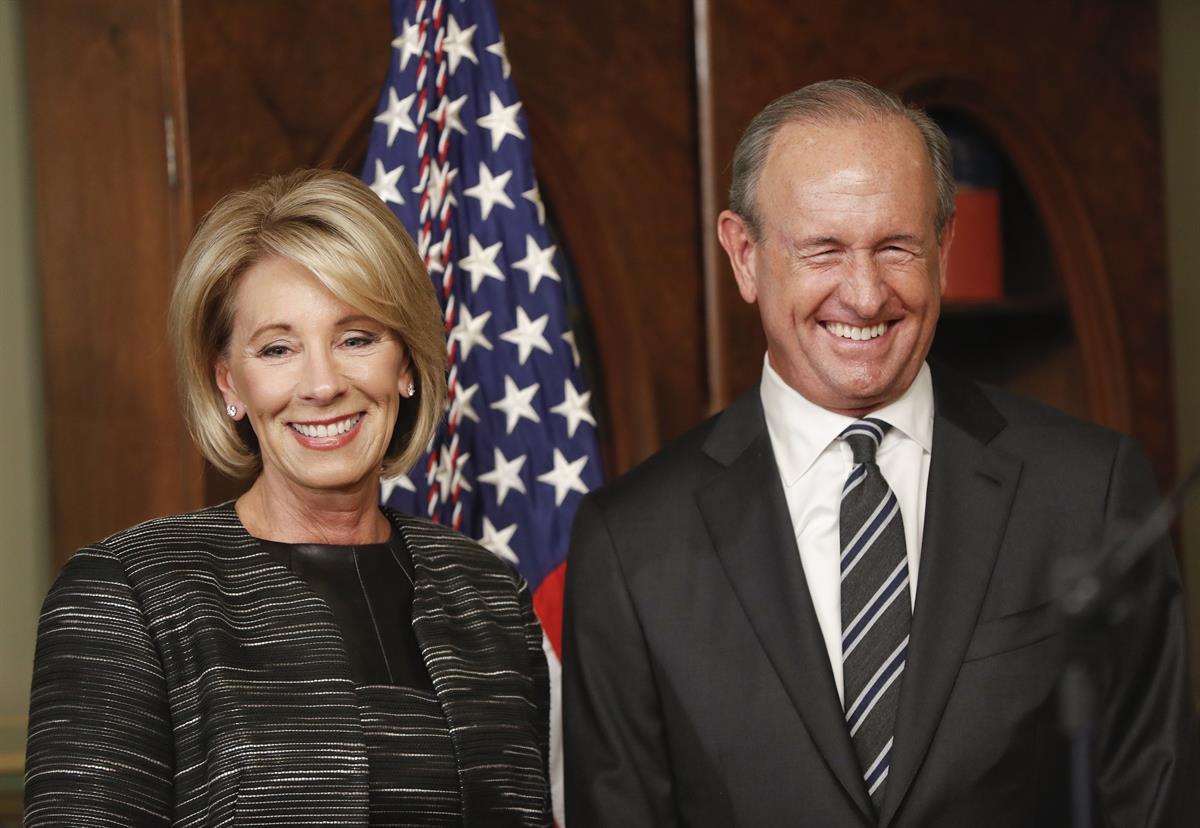 Education Secretary Betsy DeVos and her husband Dick DeVos— Feb. 7, 2017 (AP/Pablo Martinez Monsivais)