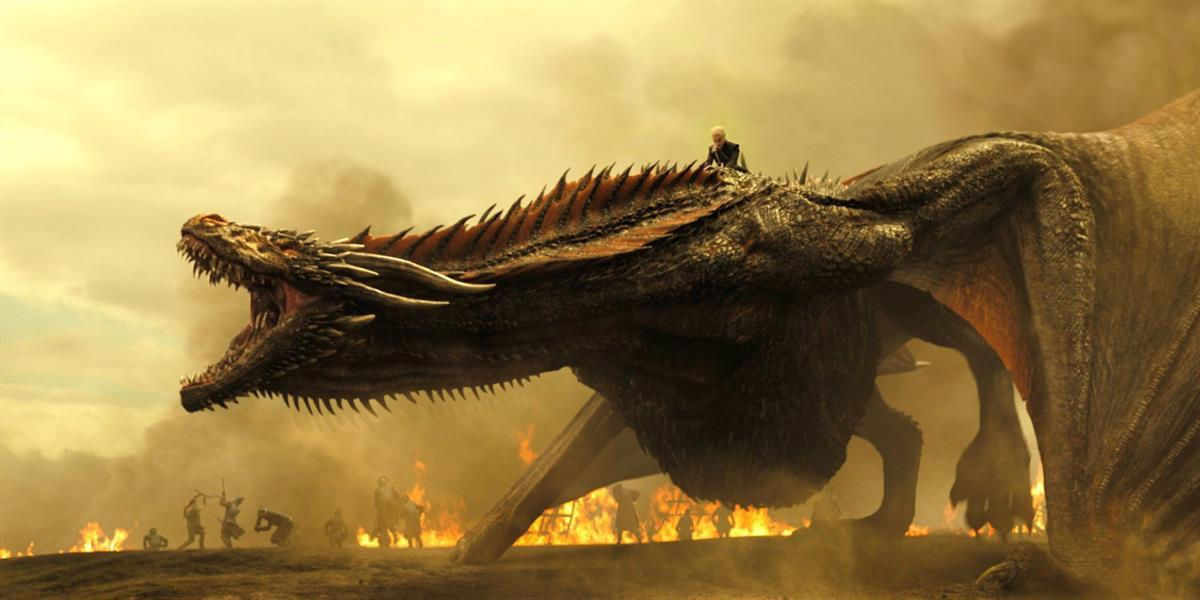 Drogon making short, flammable work of the Lannister army during the Battle of Tumbleton. (Game of Thrones)