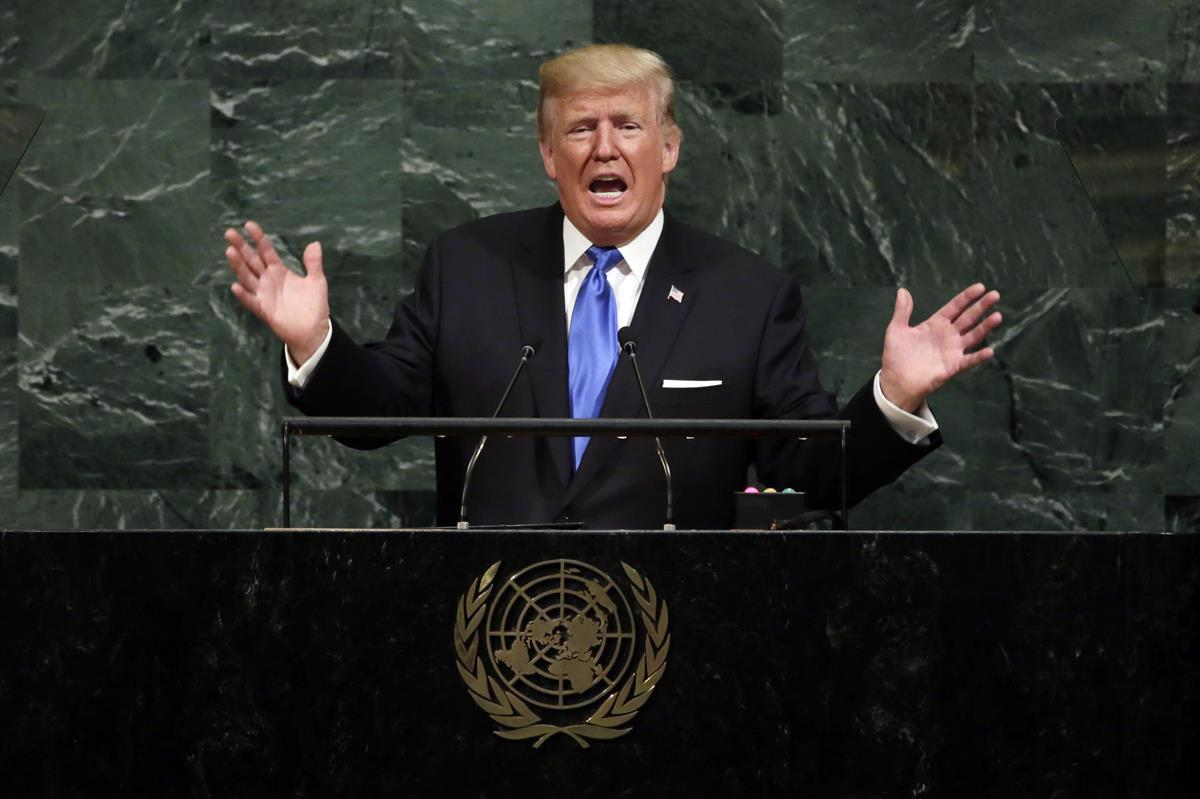 President Donald Trump addresses the 72nd session of the United Nations General Assembly, at U.N. headquarters—Tuesday, Sept. 19, 2017 (AP Photo/Richard Drew)