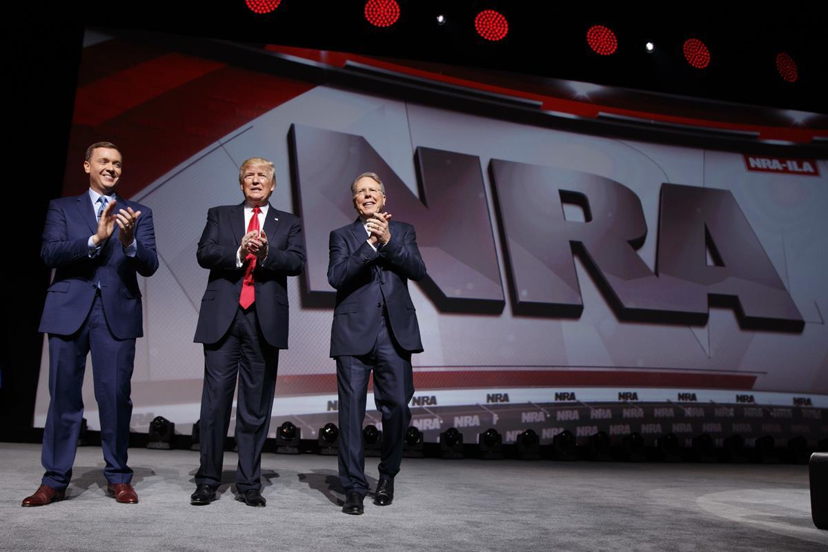Senate Minority Leader Mitch McConnell (R-KY), at the leadership forum at the National Rifle Association's annual convention Friday, April 25, 2014 | President Donald Trump at the National Rifle Association Leadership Forum, Friday, April 28, 2017, in Atlanta. — (AP Photo/AJ Mast)