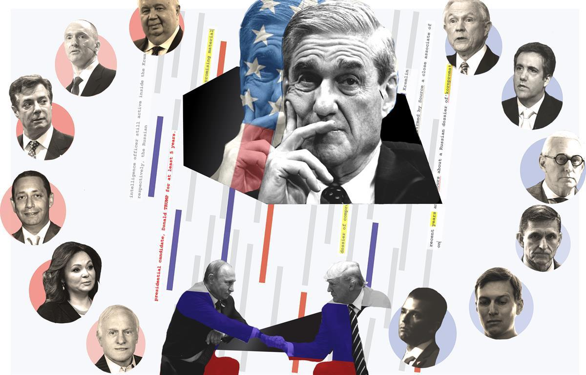 Robert Mueller surrounded by Trump, Putin, and their associates (Rantt Media/Maddie Anderson)