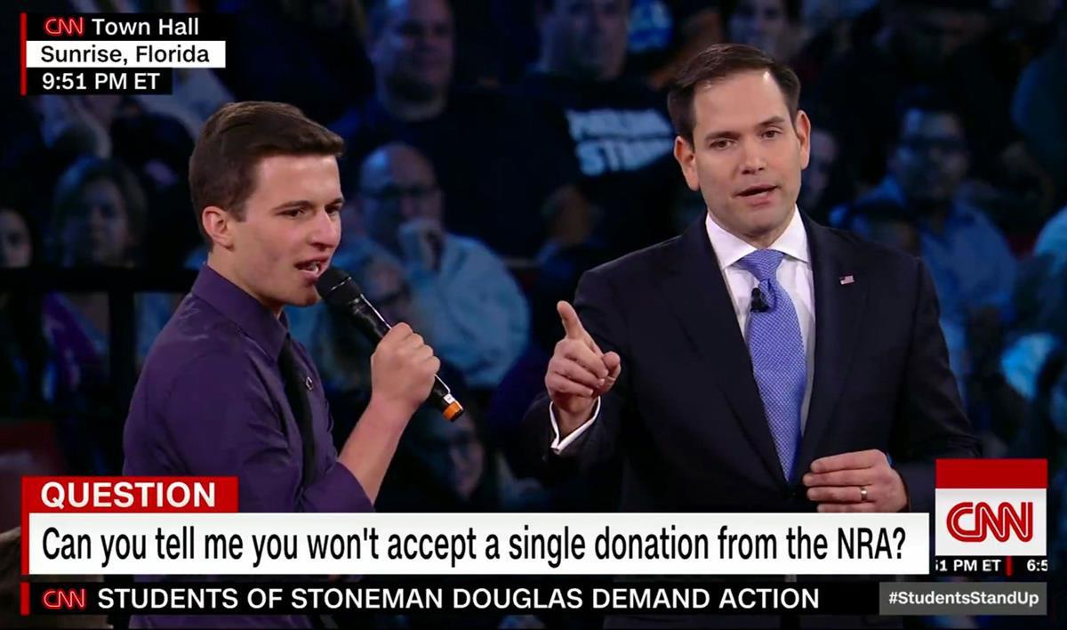 Cameron Kasky questions Republican Florida Senator Marco Rubio at the CNN Town Hall