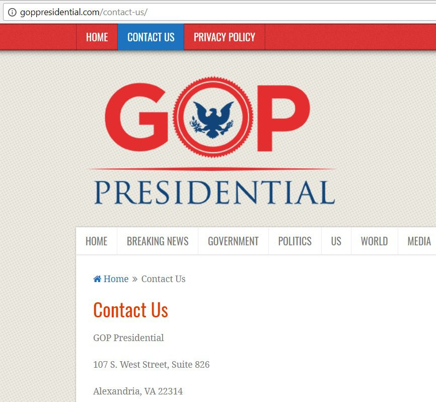 Screenshot from GOPPresidential.com