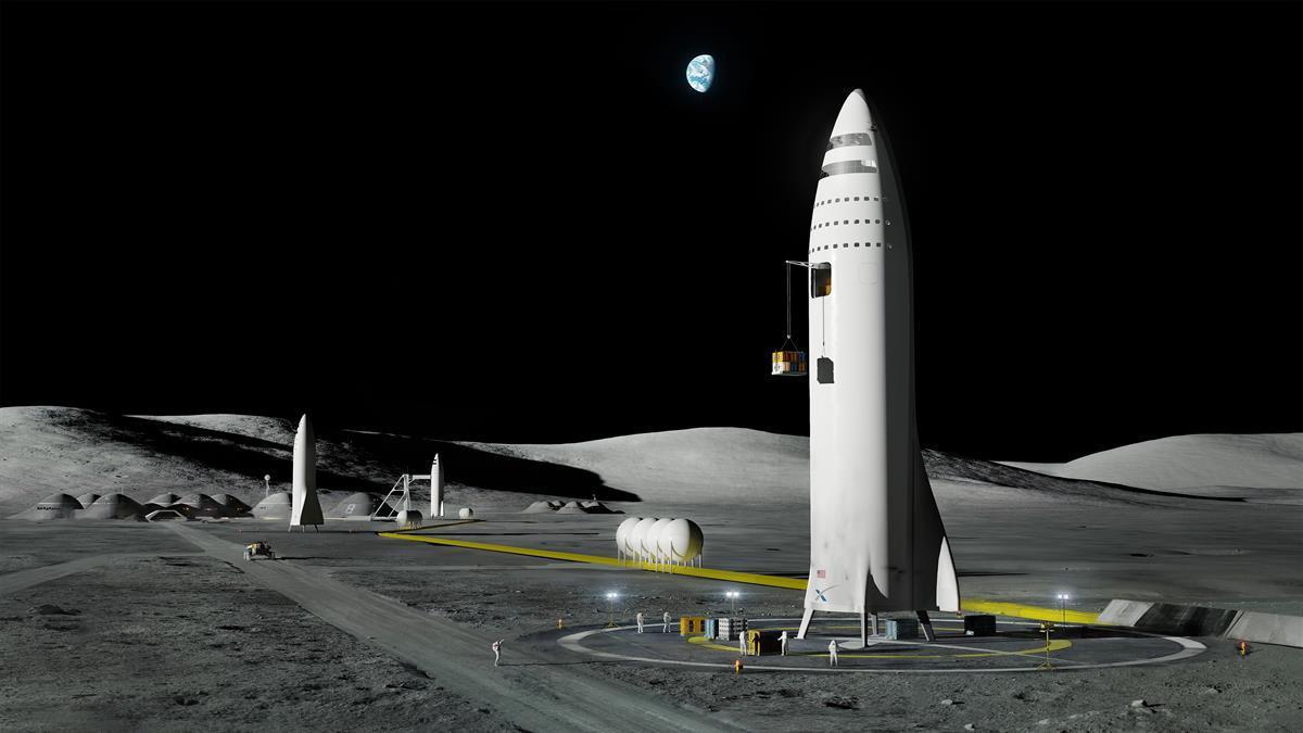 Establishing a lunar base using the Interplanetary Transport System(SpaceX)