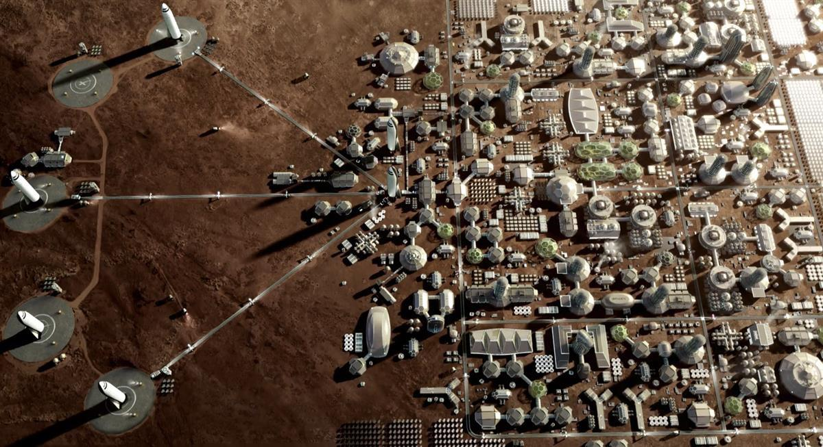 Render of a proposed city on Mars with launch and landing pads for Interplanetary Transport S shuttles (SpaceX)