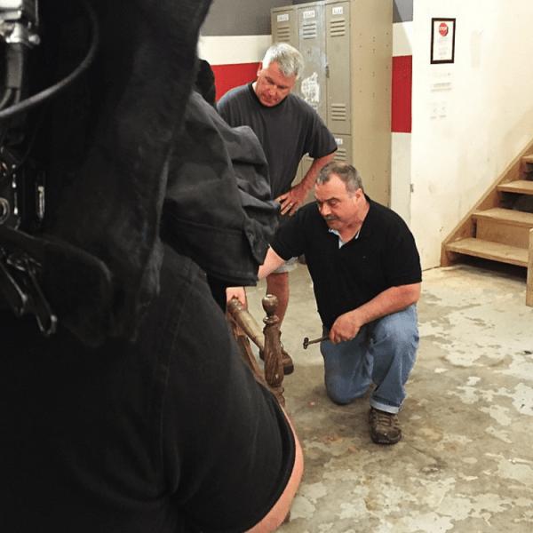 Mark DeVito being filmed on the set of HGTV's Flea Market Flip.