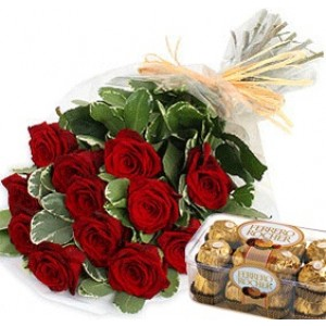Red Roses with Ferrero Chocolate
