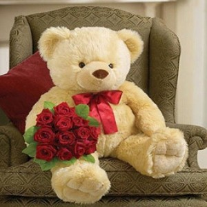 24 Inches Cute Teddy Bear with One Dozen Roses