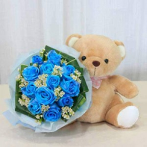 12 Blue Roses / Bouquet and 12 inches brown stuffed toy