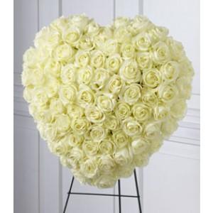 White Heart Sympathy Flowers