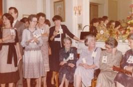Cousinade Chancel du 21 mars 1981 :? Huet, ?, Marie-Louise Perraud, Lucienne Franc, Marie-Nicole Sauton, Lucienne Bourgin, Geneviève Abeille, Françoise Guillemot