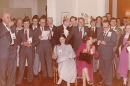 Cousinade Chancel du 21 mars 1981 : André Lapeyre, Guillemot, ?, ?, Raymond Cossé, François Huet, Corinne Cossé, Philippe de La Fortelle, Benoît Cossé, François Rozan, ?, ????
