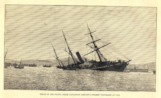 """El buque británico """"Valparaíso"""" frente a Bouzas, tras haber tocado en los bajos de Cabo de Mar (Grabado inglés de 1887 Colección Seoane-Prado)"""